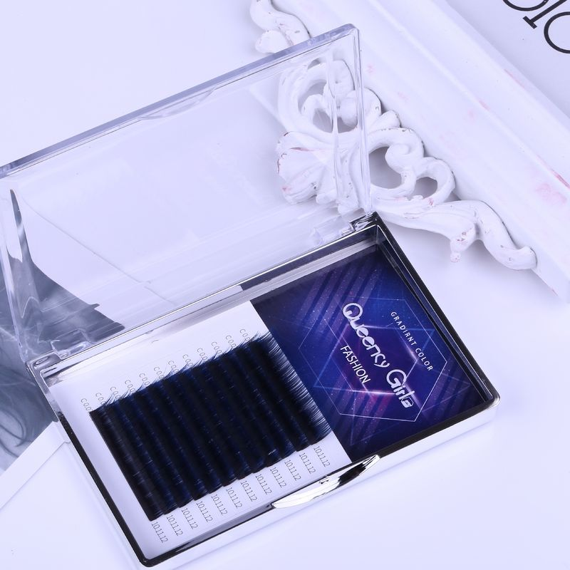 Gradual Blue Blooming Eyelash Individual Extensions Synthetic Hair 0.07mm Thickness